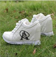 Hot Sales new 2013 Autumn Black White Hidden Wedge Heels Casual shoes Women's Elevator High-heels Sneakers for Women Rhinestone