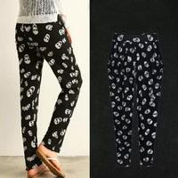Fashion Skull Print Women's Pants: European American Style Woman's Harem Pants Casual Plus Size Female Trousers Pantalona Retail