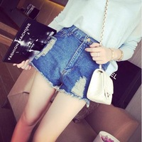 Free Shipping 2014 Fashion All-Match Denim Shorts Wholesale Women Ripped Thin High Waisted Jeans