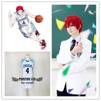 Kuroko no Basketball Cosplay Akashi Seijuro Cosplay Costumes RAKUZAN No. 4 Basketball Jersey - White S M L XL XXL(Free Shipping)