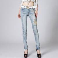 Hight quality women ripped jeans denim calca jeans feminina skinny designer jeans pants white skinny pencil jeans 2014