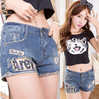 Free Shipping Summer Shorts Plus Size Jeans Women Fashion Denim Shorts Letter Flash Jeans