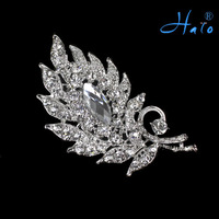 P168-320 1pc/lot free shipping silver leaf clear  rhinestone brooch for costume jewelry