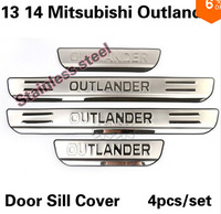 Stainless Steel Side Door Sill Threshold Scuff Plate Trims 4pcs/set for 13 14 Mitsubishi Outlander 2013 2014