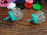 free ship! 50set/lot 20*15mm Glass Bubble vial glass Ball with turquoise earring base ear stud findings set NEW