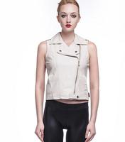 White Oblique zipper PU leather vest jacket women slim street vests faux leather waistcoat jackets coat womens female fashion