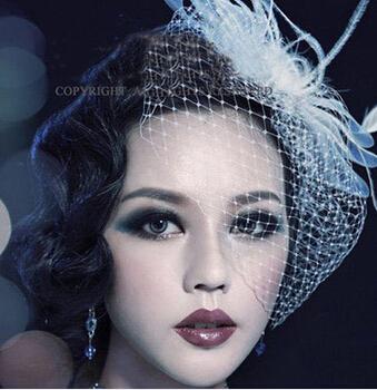 Vintage Style Bridal Birdcage Veil Party Headdress Fascinator Feather veil Wedding Accessory free shipping(China (Mainland))