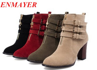 ENMAYER Big Size 34-43 New Designer Ankle Boots, High heels Platform Women's Shoes, Sexy Buckle Gladiator Heel Boots For women