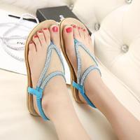 2014 New Summer Shoes Women Flat Sandals Gauze Gemstone Casual Sandals