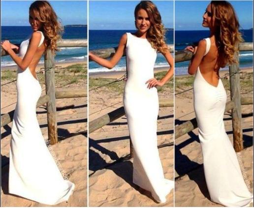 2014 New Fashion Sexy Maxi Dress Summer Sleeveless Backless Mermaid Dress White Bodycon Evening Party Dress LD0707(China (Mainland))