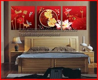 Framed 3 Panel Large Chinese Oil Paintings Koi Fish Lotus Peony Canvas Art Red Wall Picture Feng Shui Home Decoration XD02346