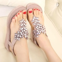 2014 New Summer Shoes Women Sandals  Gemstone Casual Sandals
