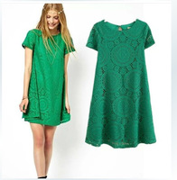 Free Shipping New 2014 Full Lace Women Summer Dress Short Sleeve Hollow Out Vintage O Neck Casual Dresses Plus Size S-XL 4Color