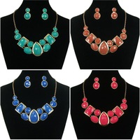 Vinatge Necklace Earring Set Acrylic Bib Statement Collar Necklace Jewelry Set For Women Cheap-fine Store Free Shipping