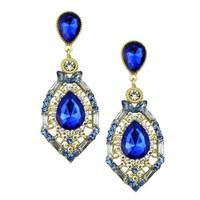 luxury elegant ocean brincos grandes blue rhinestone big fashion drop earrings 2014 Hot Sell Vintage wedding Earings Accessories