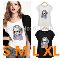 YHM1245 Women Fashion  White Black Slim T Shirt Woman Summer 100% Cotton Short Sleeve Clothing  Wholesale
