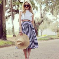 European Style Ladies Striped Skirt Summer Casual Fitness Chiffon Saia Feminino Women Fashion Long Skirts 3458