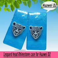 Leopard head rhinestone Case for HUAWEI Ascend D2 ,New Arrival Crystal Diamond Hard Back Skin Mobile phone Case