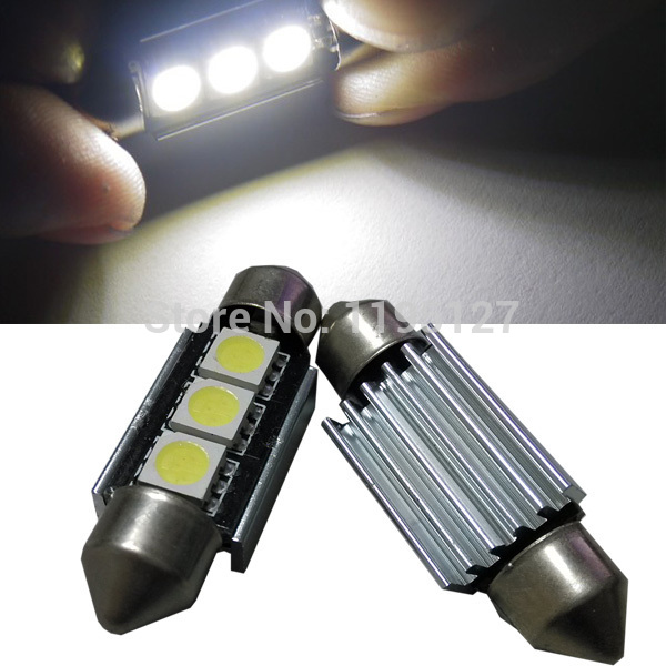 High Quality 50 Pcs/Lot Car LED White Light C5W 3 Lights SMD 5050 36MM Plate Dome Free LED Lamp Wholesale(China (Mainland))