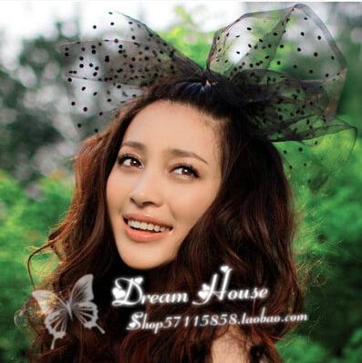 Fashion elegant black white bowknot dot mesh hairpin creative Hair accessories free shipping(China (Mainland))