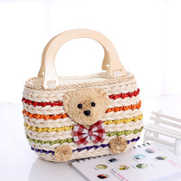 Bear straw bag candy colo rustic woven  emale   bag innumeracy handbag