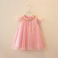 New 2014 Summer Hot sale! girls gold embroidered tulle dress children fairy princess  veil dress 5pcs/lot