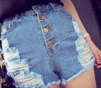 2014 new summer slim breasted high waist denim shorts slim thin waist shorts female hole shorts