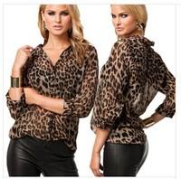 2014 Spring And Winter European Fashion Style chiffon v-neck long sleeve women shirt casual plus size shirt