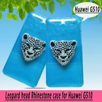 Leopard head rhinestone Case for HUAWEI G510 U8951 T8951 ,New Arrival Crystal Diamond Hard Back Skin Mobile phone Case