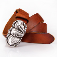 Universal retro belt first layer of leather men and women casual smooth buckle silver plated elephant belts