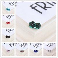 Cute Korea Resin Water Cube Crystal Women's Stud Vintage Earrings Girls Friends Gift R-084