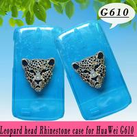 Leopard head rhinestone Case for Huawei C8815 Ascend G610  , Crystal Diamond Hard Back Skin Mobile phone Case, Free shipping