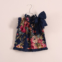 New summer baby girls big bow temperament cotton floral sleeveless T-shirt tops Wawa Shan tees