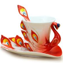 3PCS Canna porcelain peacock Coffee Set Cup/Saucer/Spoon wholesale