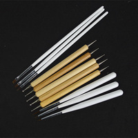 (11pcs in 1set ) Wooden Dotting Pen Nail Art Pen Kits Acrylic French Nail Liner Painting Brush for False Nail Tips UV GEL NA043