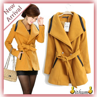 casacos femininos 2014 winter coat women trench coat for women coat wool female coat casaco With Belt