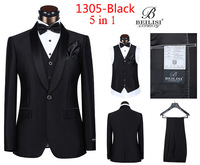 2014 New Arrived Beilisi Quality Groom Dress Suits For Wedding five pieces set for men Business Casual Suits White Black 1305-5
