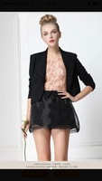 Cute Elastic Waist Black Layered Organza Princess Divided Skirt Short Pants