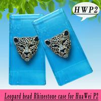 Leopard head rhinestone Case for Huawei Ascend P2 ,Crystal Diamond Hard Back Skin Mobile phone Case, Free shipping