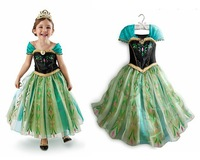 New 2014 frozen dress for girl, vestidos de menina, anna summer dress ,girl cartoon dress 2014 Free Shipping