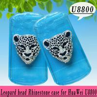 Leopard head rhinestone Case for Huawei Impulse 4G U8800,Crystal Diamond Hard Back Skin Mobile phone Case, Free shipping