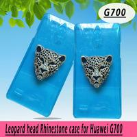 Leopard head rhinestone Case for Huawei Ascend g700 ,Crystal Diamond Hard Back Skin Mobile phone Case, Free shipping