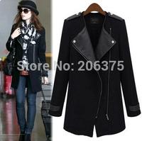 Free shipping 2014 New Women's autumn & Winter clothes coat zipper stitching Slim thin black long coat windbreaker jacket S-XL