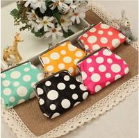Whosale 6pcs/lot Ladies Girls Women Designer Oilcloth PU Polka Dot Print Coin Purse Free Shipping
