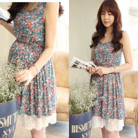 Maternity clothing 2014 summer sleeveless print flower tank chiffon maternity dress Pregnant high waist one-piece dress