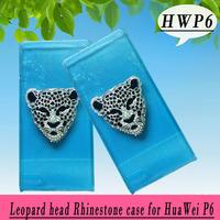 Leopard head rhinestone Case for Huawei Ascend P6 ,Crystal Diamond Hard Back Skin Mobile phone Case, Free shipping
