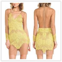 New 2014 CHOIES Designer Fashion Yellow V Neck Long Sleeve Sheer Back Bodycon Dress With Contrast Eyelash Lace Panel