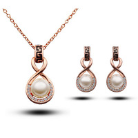 Fashion austria crystal women Beautiful pearls pendant necklace/earrings bride wedding Jewelry Sets