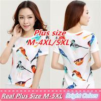 2014 Women Blouses Bird Print Loose Clothing Chiffon Blouse Casual Shirt Women Tops Tee Blusas Femininas XXXL Plus Size Shirt