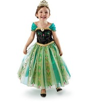 2014 Frozen Elsa Anna costume princess queen cosplay summer girl clothes